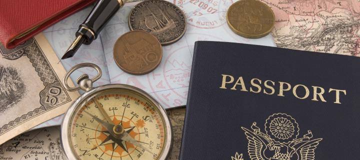A passport, compass and money