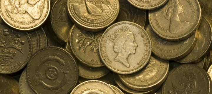 A pile of pound coins