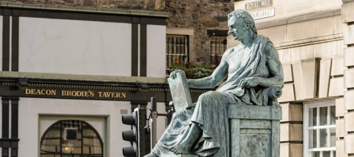 Statue of the philosopher David Hume who was an influential figure in the Scottish Enlightenment.