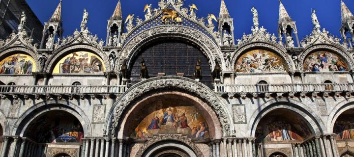 Saint Mark's Basilica Details of statues and mosaics in Venice, Italy