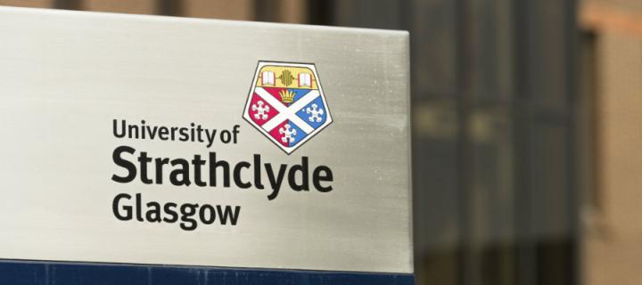 University of Strathclyde Glasgow sign on their campus in central Glasgow.
