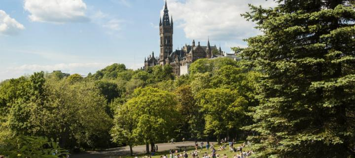 View of Kelvingrove Park with Glasgow University visible in background