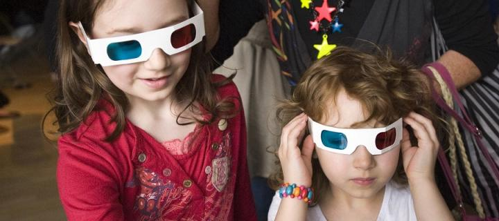 Children wearing 3d glasses at the Edinburgh Science Festival