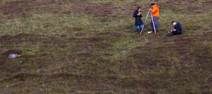 GIS and Archaeology students collecting data in Kindrogan.