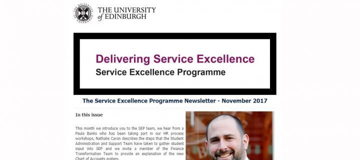 Screenshot of SEP newsletter