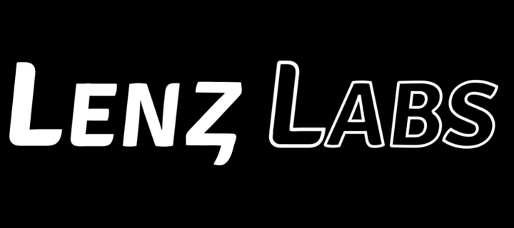 Lenz Labs written in white on a black background