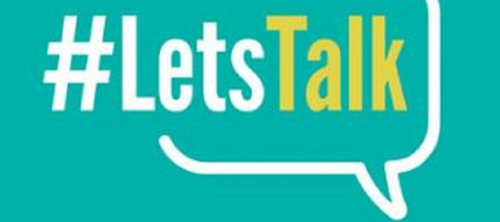 Blue background with the text #LetsTalk within a white speech bubble