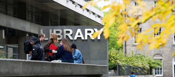 Students at Main Library sign