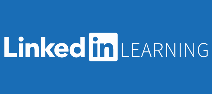 Image of white linkedin learning logo on blue background