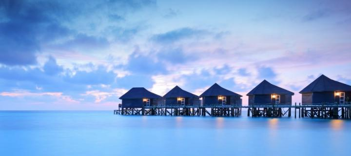 Houses on stilts in the Maldives