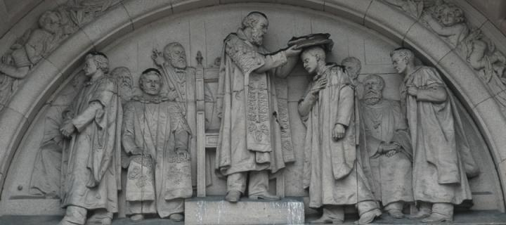 Frieze of students graduating