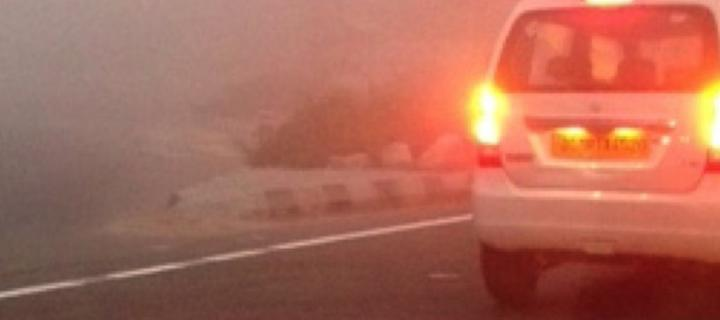 Image of air pollution behind car