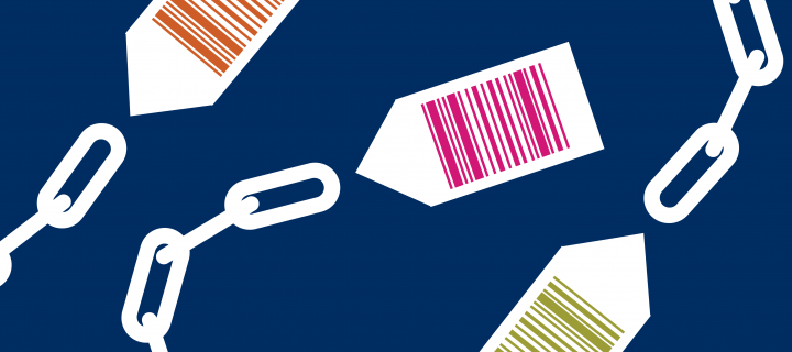 Graphic: chains connected to price tags with barcodes