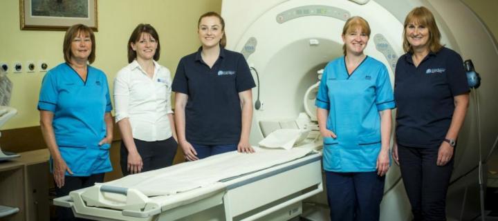 MRI staff with MRI scanner at BRIC