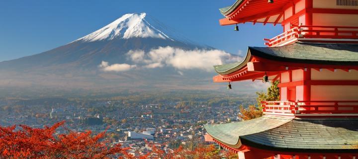 Mount Fuji viewed from Chureito Pagoda
