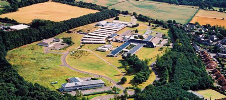 Aerial shot of the old Institute estate in Roslin village