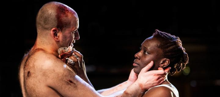 Ricky Champ as Josef the Fool (left) and Ony Uhiara as Lizaveta in Cannibals.