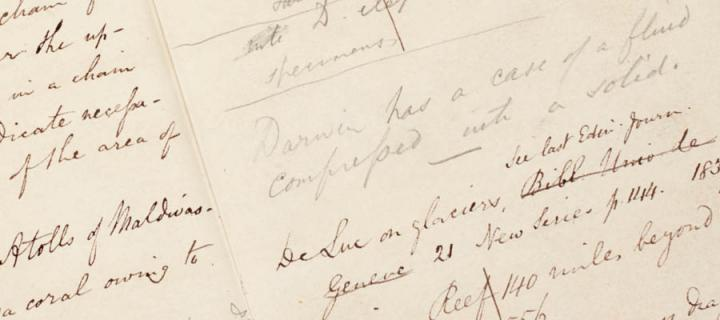 Scan of a page in Lyell's notebook mentioning Darwin