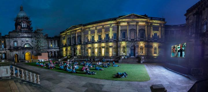 Outdoor cinema in the Old College Quad