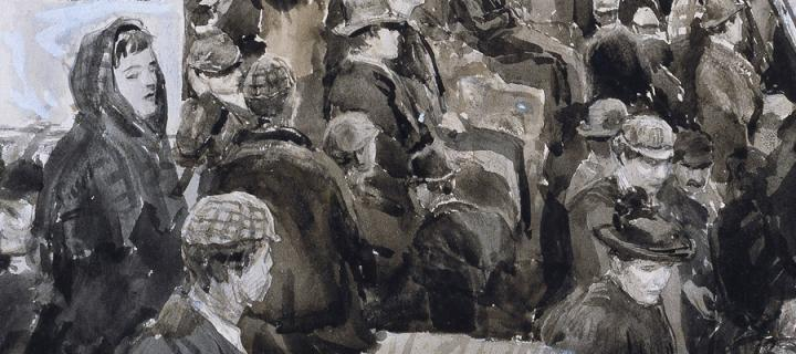 Part of the painting 'Emigrants, New York' by William Lionel Wyllie
