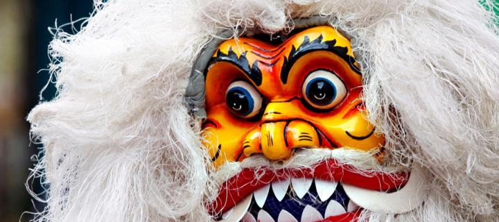 Colourful mask at the Edinburgh festival