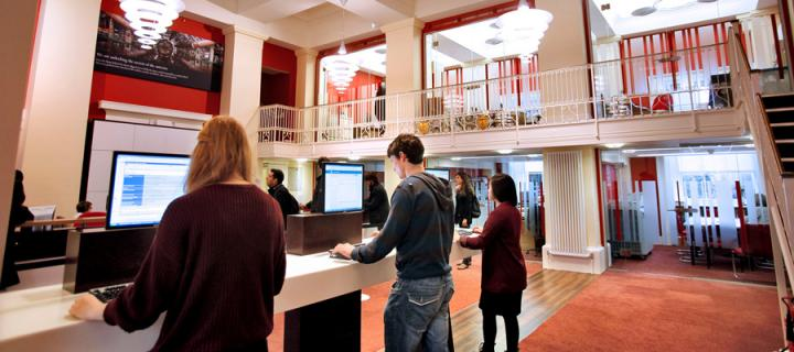 Students accessing computer terminals at the Academic Registry, University of Edinburgh
