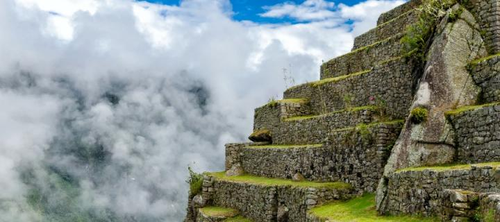 Machu Picchu in Peru in the mist