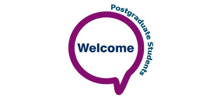 Welcome in speech bubble - Postgraduate