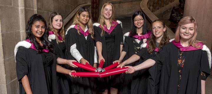 Seven current medical students who accepting degrees on behalf of the Edinburgh Seven