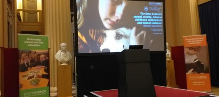 Photograph of a presentation at the Scottish SPCA/University of Edinburgh conference 2019 - the playfair library
