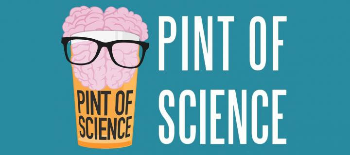 Pint of Science festival logo - an illustration of a pint glass with beer, containing a pink brain on top wearing glasses.
