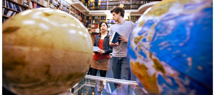 Students with globes