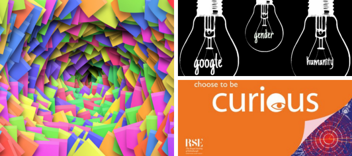 "3 images: 1) digital image of neon post-its arranged like a tunnel 2) light bulb illustration 3) ""choose to be curious"" banner"