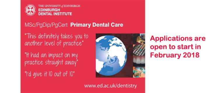 Advert for online applications for MSC in Primary Dental Care