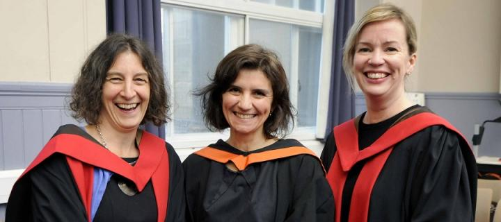 Dr Ruth McQuillan, Dr Rose Geddes and Dr Neneh Rowa-Dewar in graduation gowns