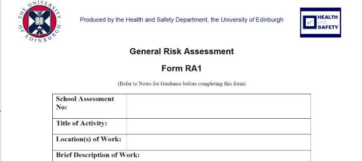 Image of a risk assessment form