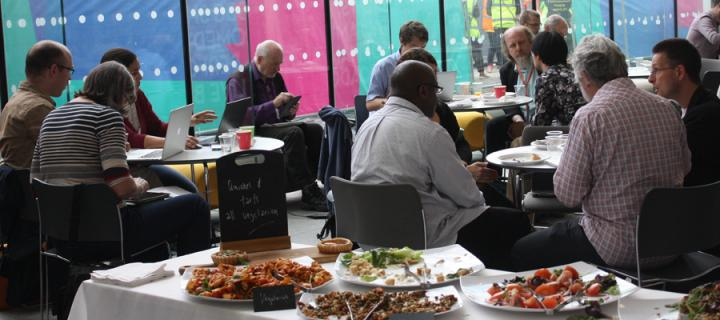 Photograph of attendees at Repository Fringe during the lunch break