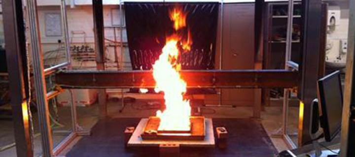 Photo of a controlled fire in a lab