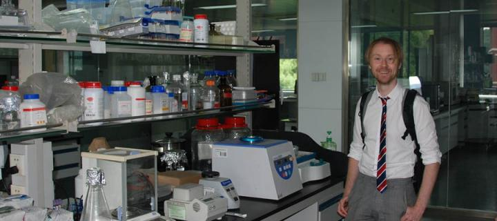 Richard Culleton in a lab