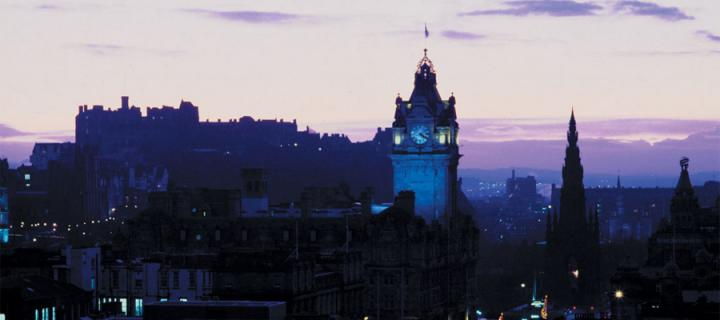 East End of Princes Street from Calton Hill showing Edinburgh Castle in the background.