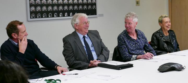 Members of the patient reference group at a meeting