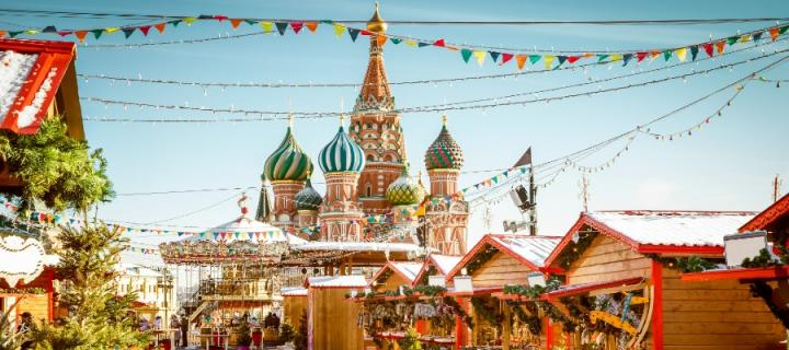 Russian orthodox spires at Christmas market