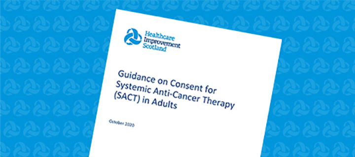 Image showing first page from guidance and consent for treatment with Systemic Anti-Cancer Therapy (SACT)