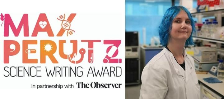 A portrait of Sarah Taylor alongside the Max Perutz Science Writing Award logo