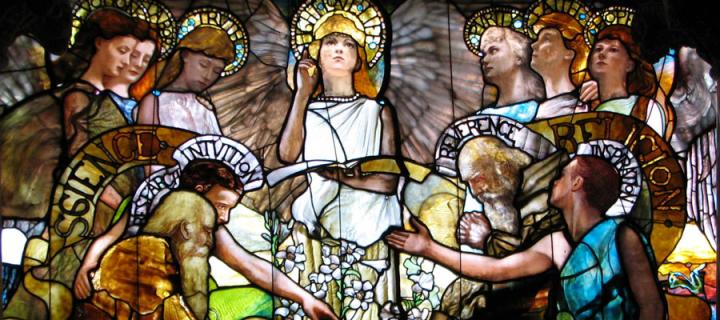 Science and religion stained glass window