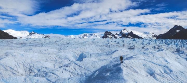 Scientist on an ice shelf