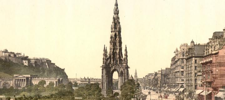 Old photograph of the Scott monument