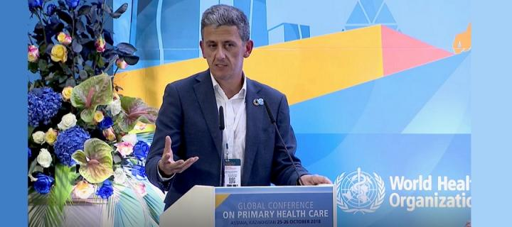Sebastian Moines speaking at Global Primary Health Care Conference 2018