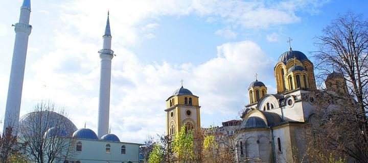 Photograph of Ferizaj Church and Mosque by Valdete Hasani
