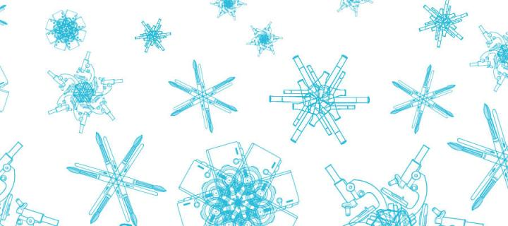 Snowflakes created from motifs of subject-related items - cameras, paintbrushes, test tubes, microscopes.